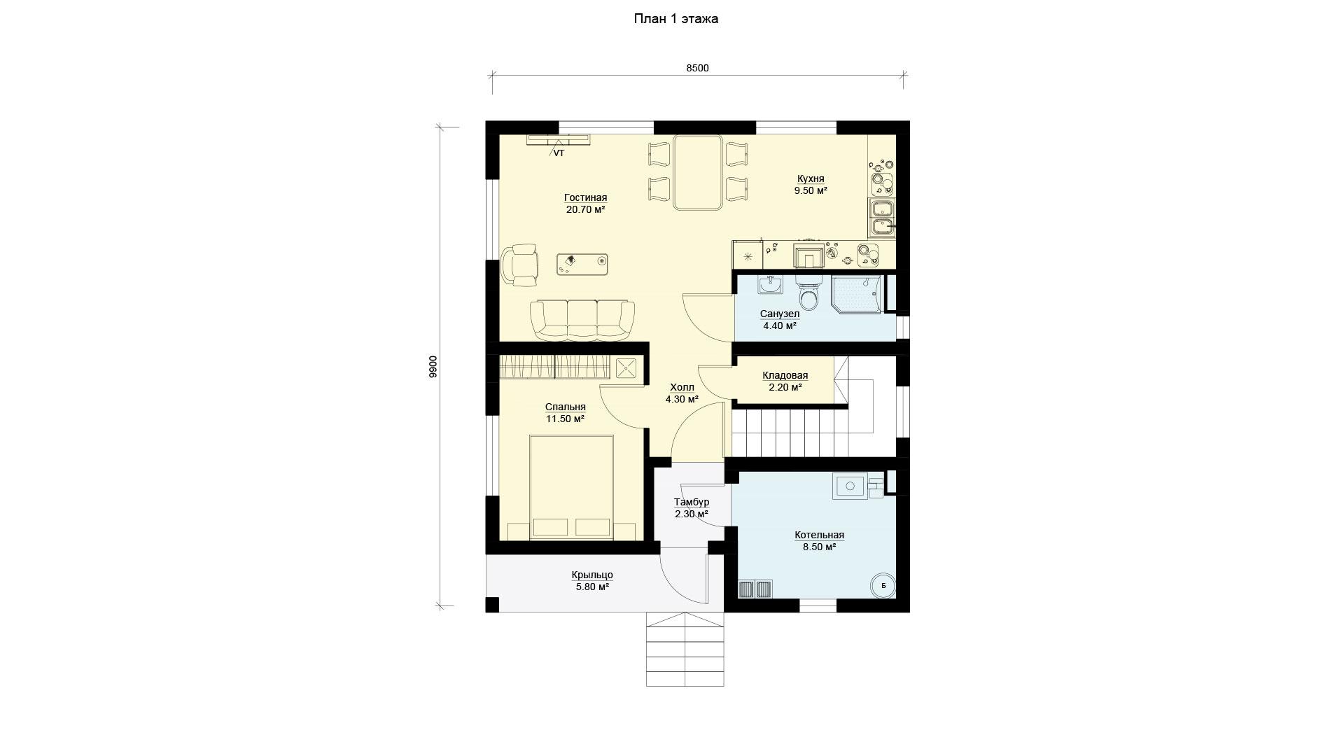 План первого этажа дома БП-145.