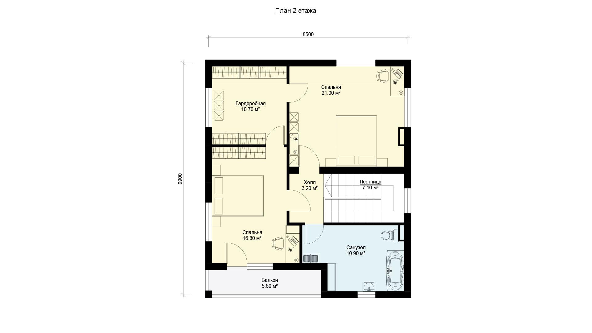 План второго этажа дома БП-145.