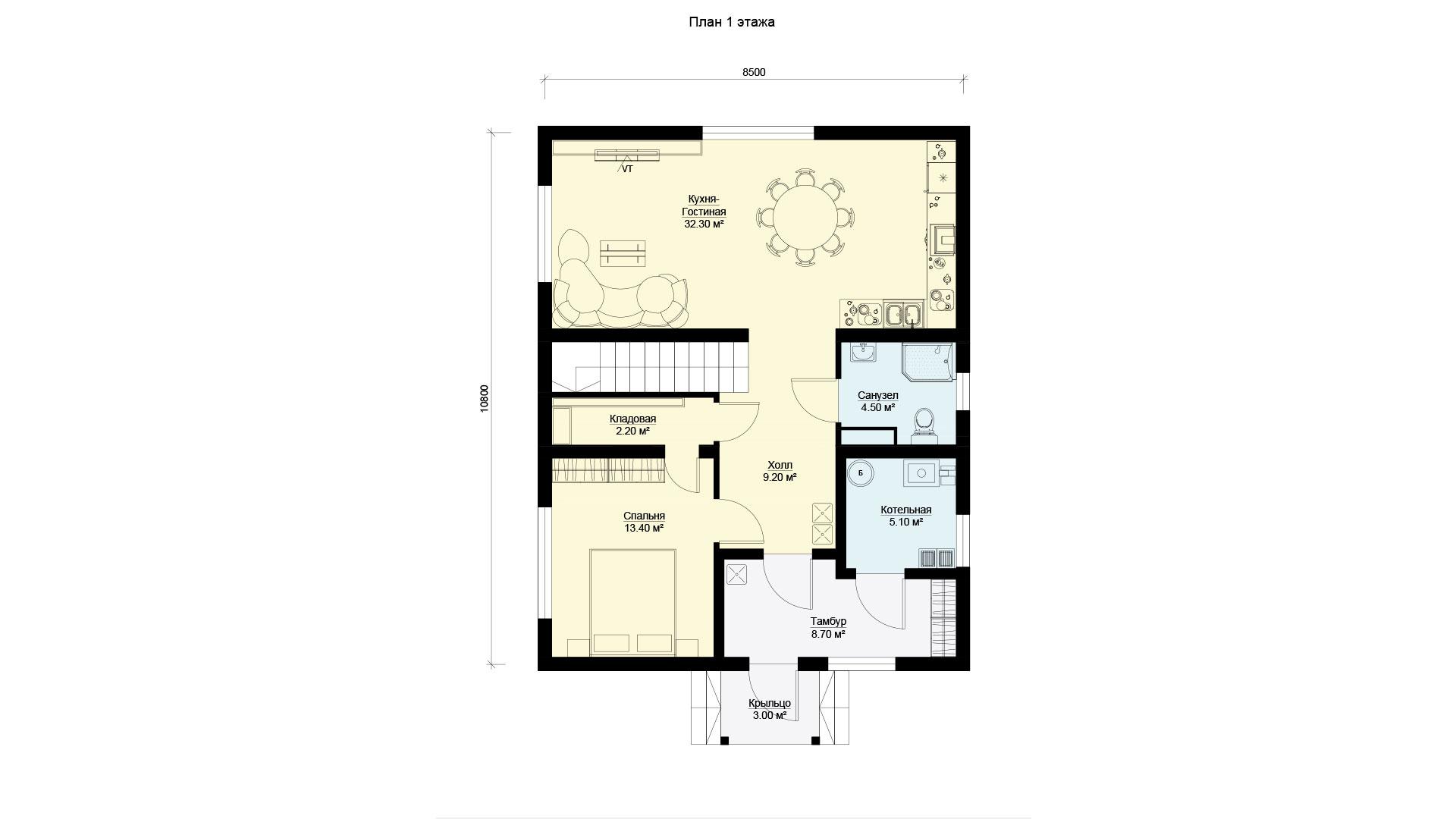 План первого этажа двухэтажного дома 10 на 8. Проект БЭНПАН БП-160/1.