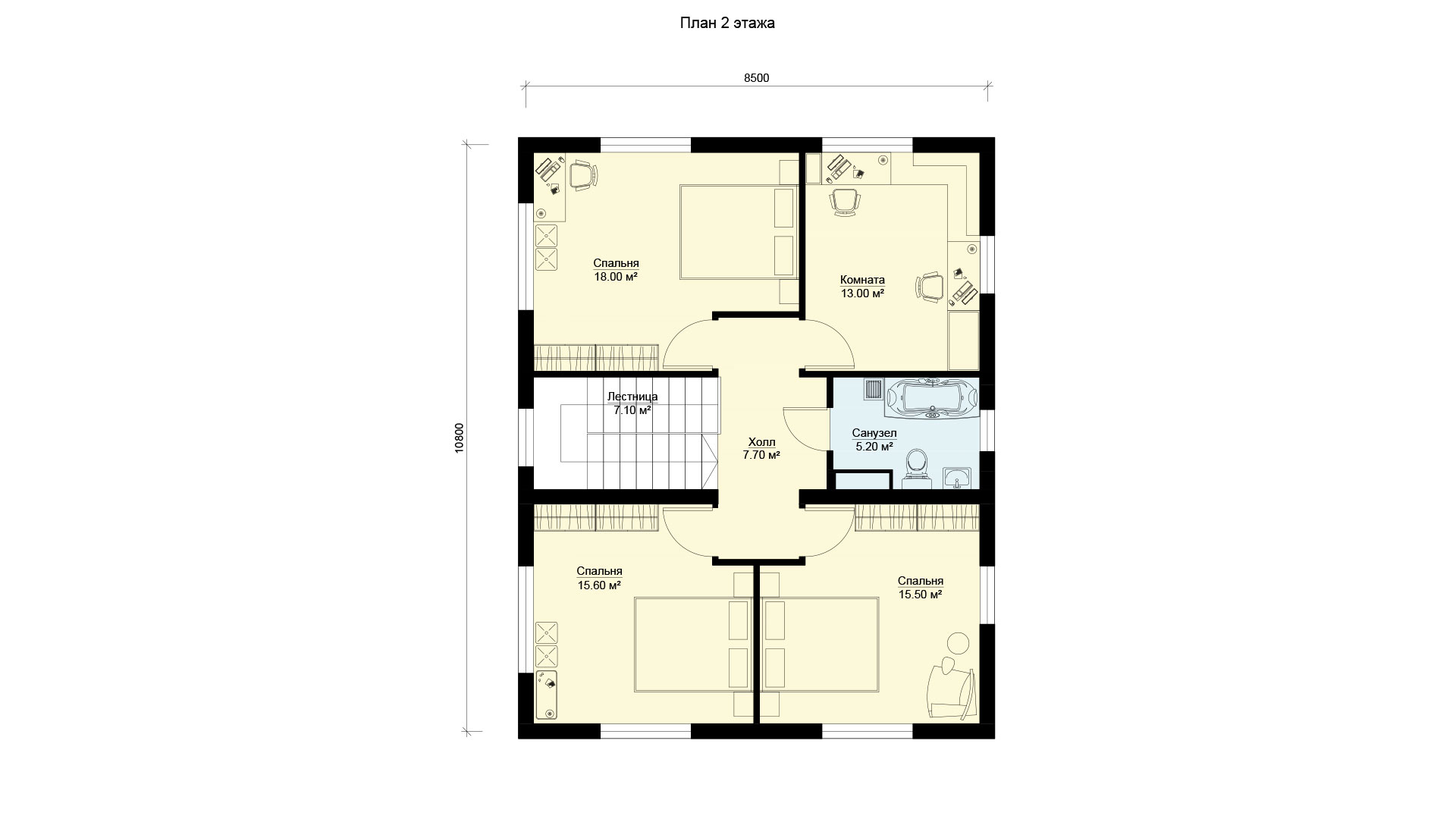 План второго этажа двухэтажного дома 10 на 8 БП-160/1.