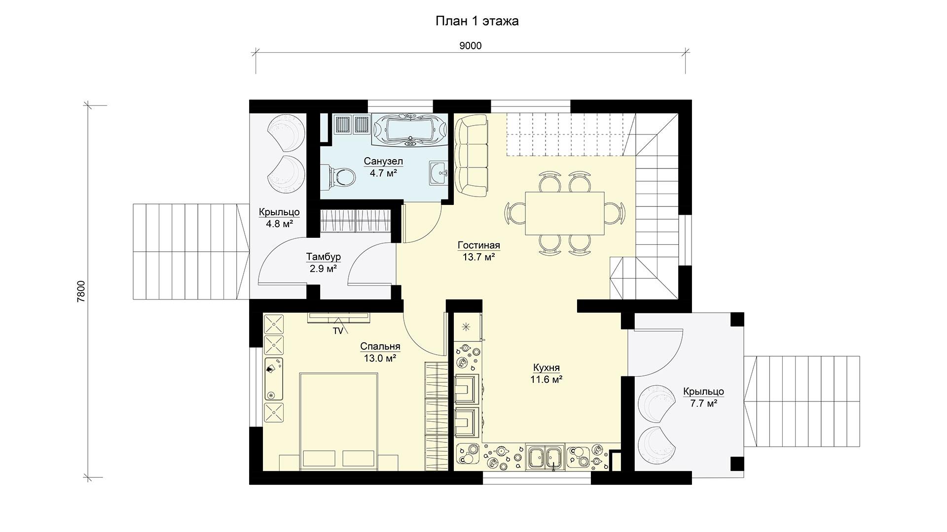План первого этажа двухэтажного коттеджа БЭНПАН, проект БП-171.