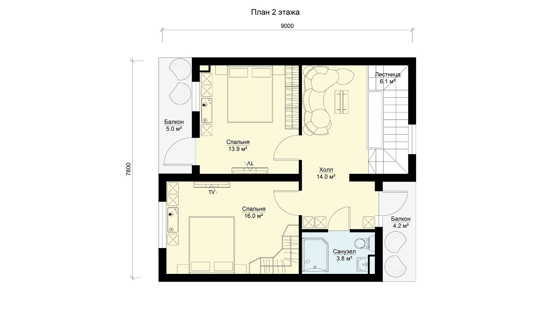 План второго этажа двухэтажного коттеджа БЭНПАН, проект БП-171.