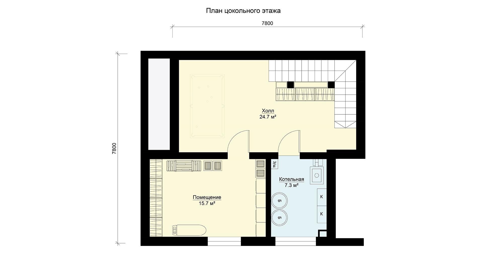 План цокольного этажа двухэтажного коттеджа БЭНПАН, проект БП-171.