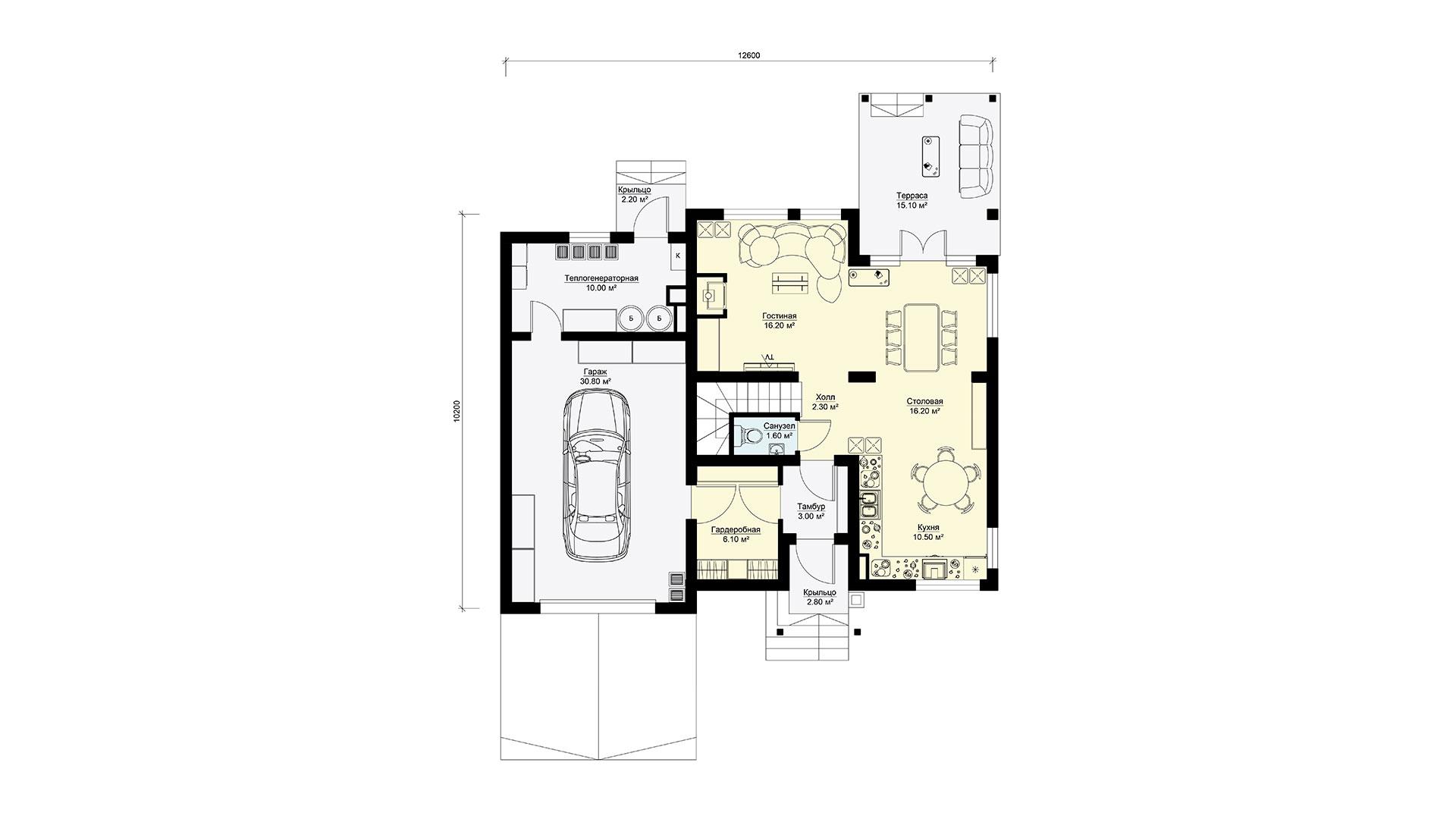 Планировка первого этажа проекта БП-185.
