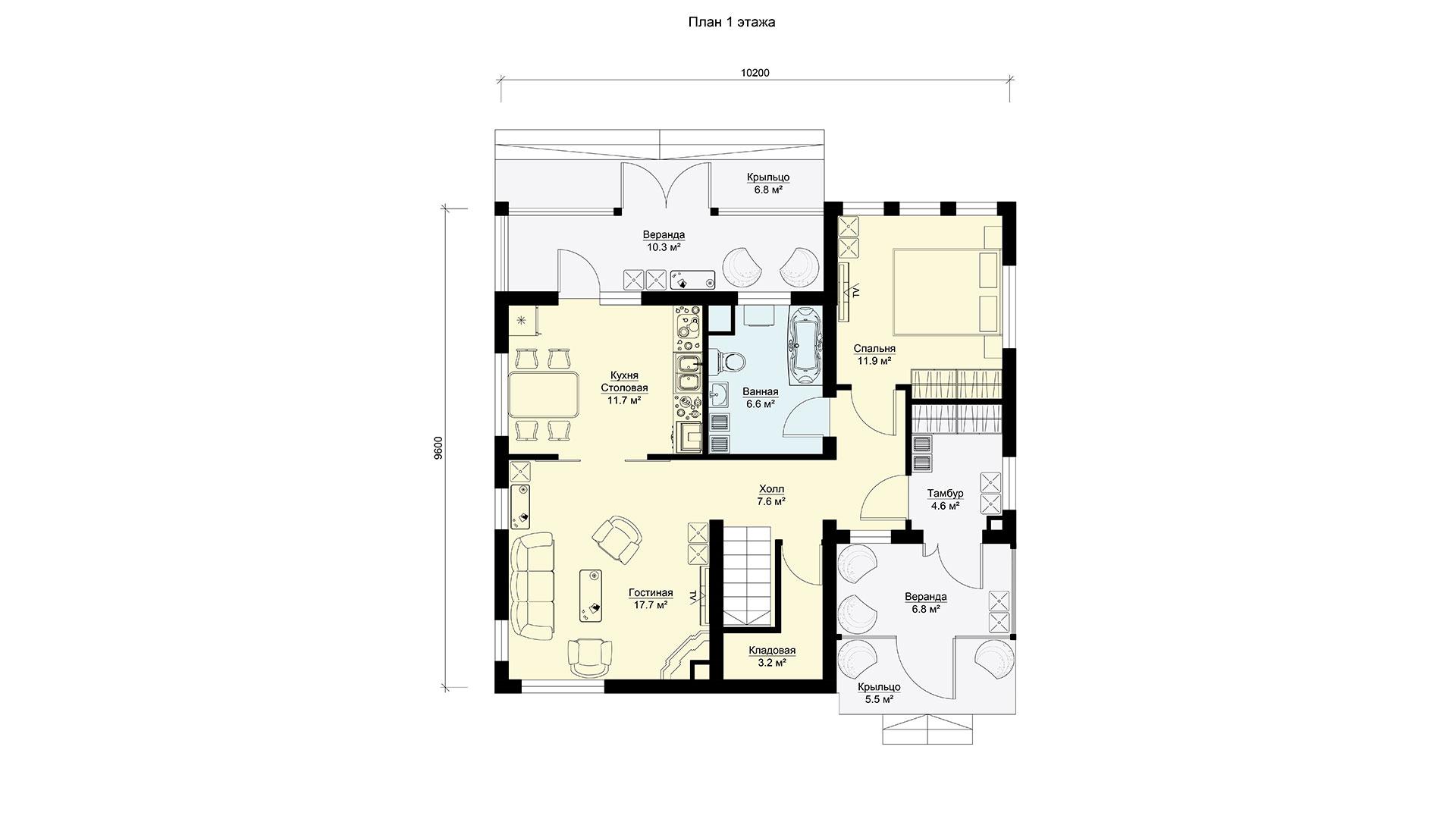 Планировка первого этажа проекта БП-186/2