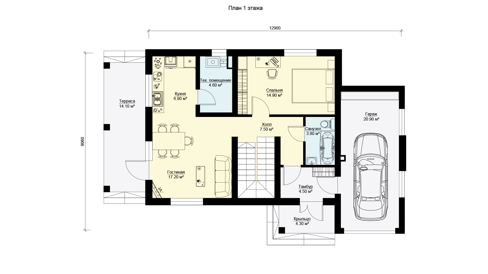 План первого этажа двухэтажного дома с эксплуатируемой крышей, проект БЭНПАН БП-190.