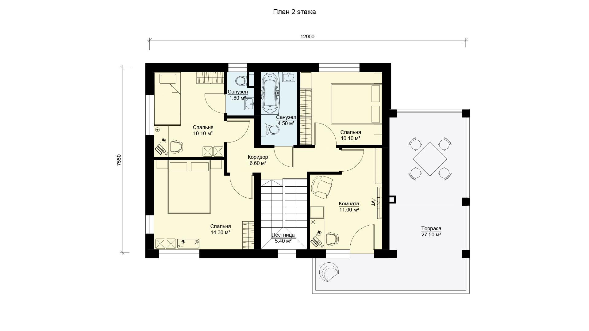 План второго этажа двухэтажного дома с эксплуатируемой крышей, проект БЭНПАН БП-190.