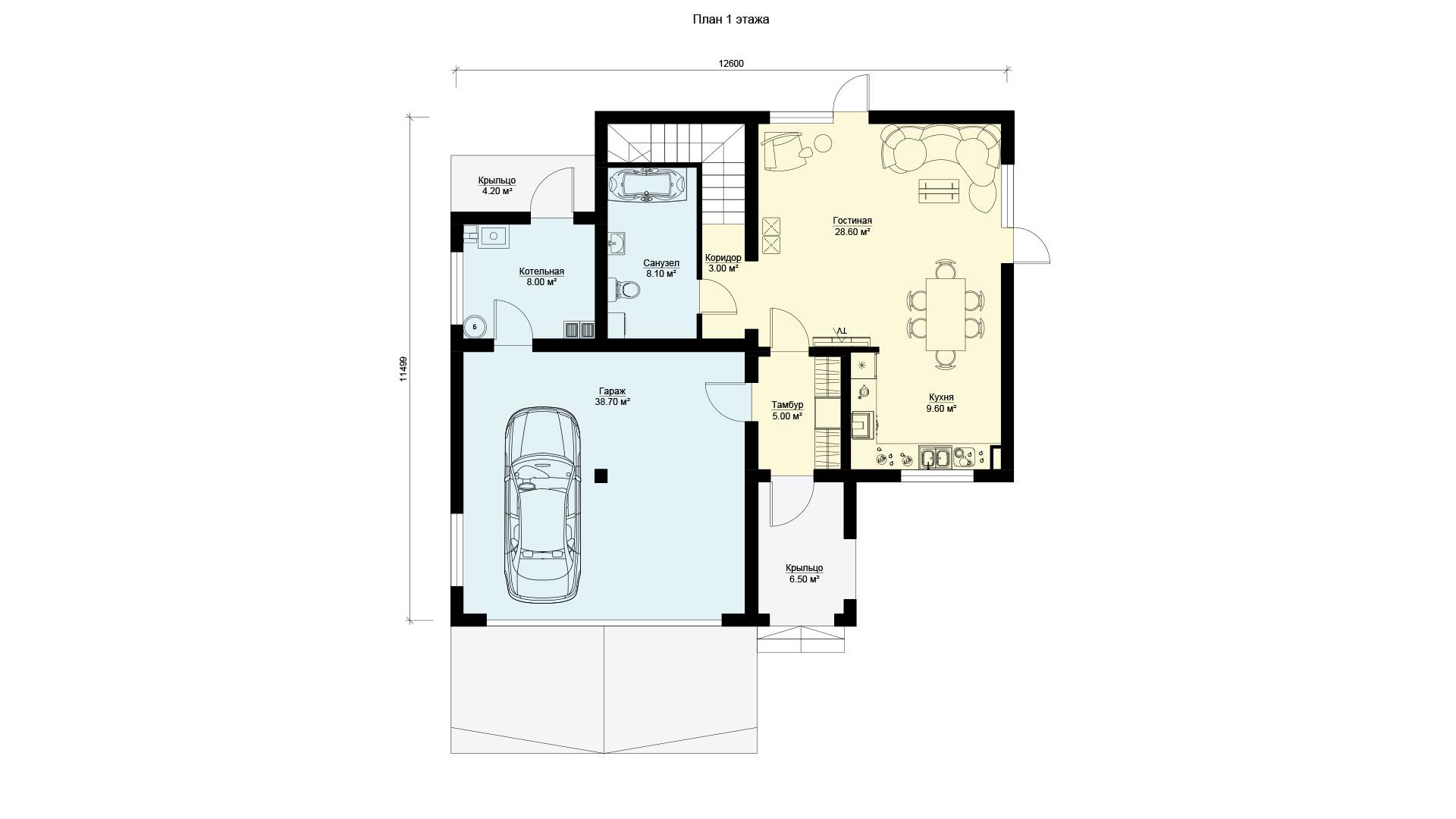 План первого этажа двухэтажного дома с эксплуатируемой крышей и гаражом, проект БЭНПАН БП-222.