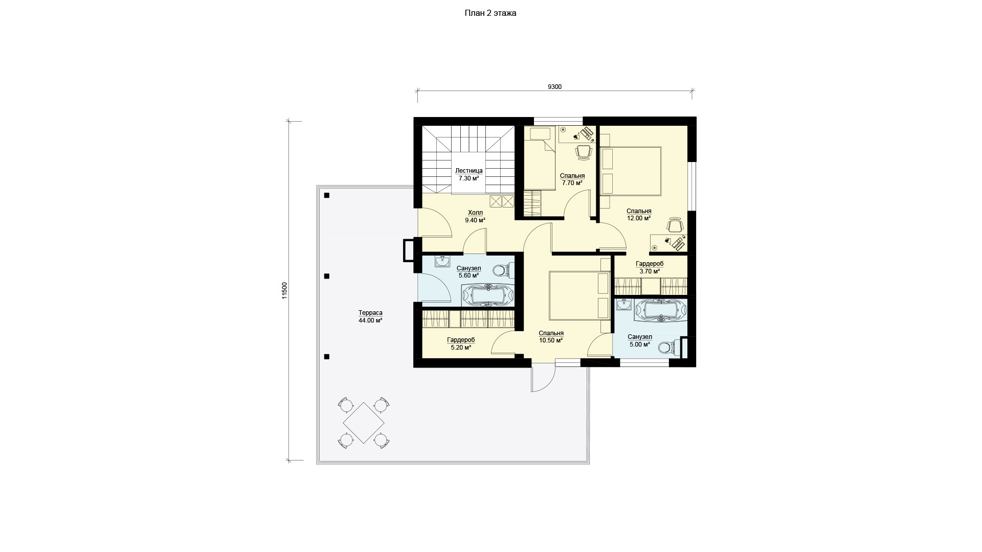 План второго этажа двухэтажного дома с эксплуатируемой крышей и гаражом, проект БЭНПАН БП-222.