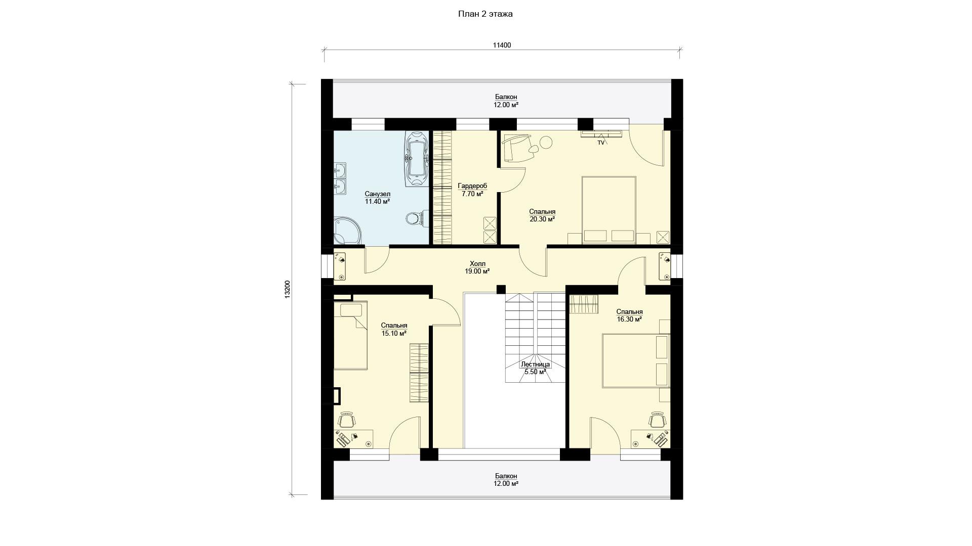 План второго этажа двухэтажного дома со вторым светом, проект БЭНПАН БП-224.
