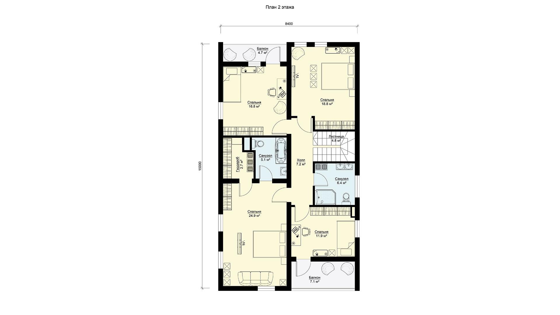 Планировка второго этажа проекта БП-272/1.