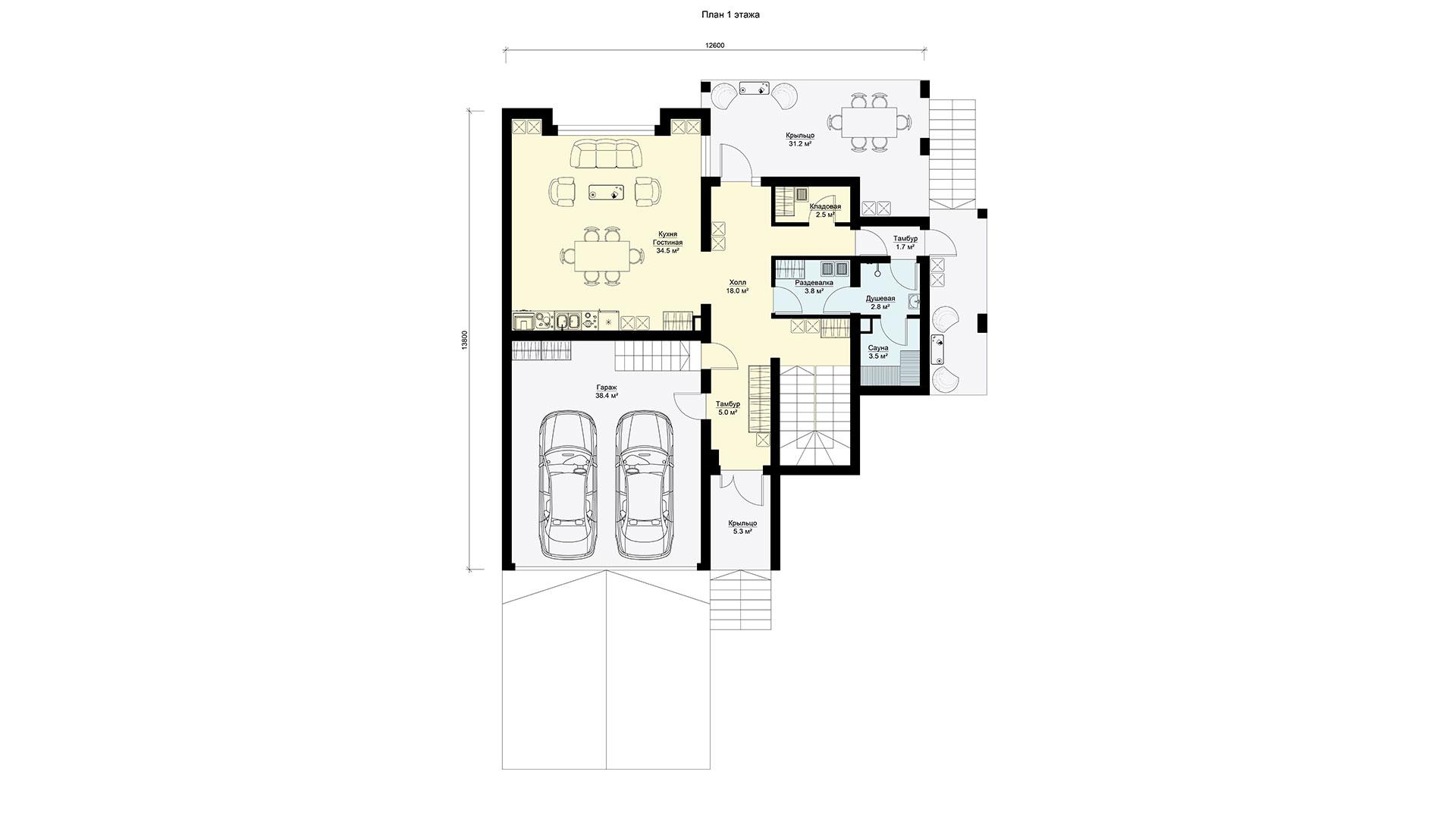 Планировка первого этажа проекта БП-274