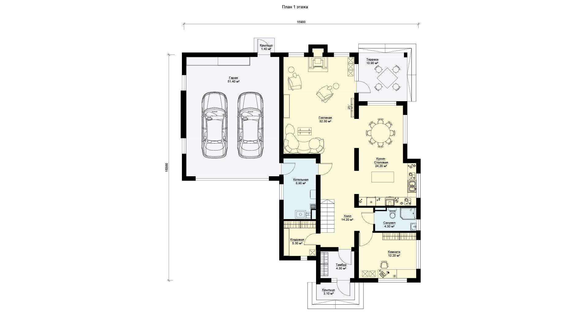 План первого этажа двухэтажного дома 15 на 15, проект БЭНПАН БП-289.