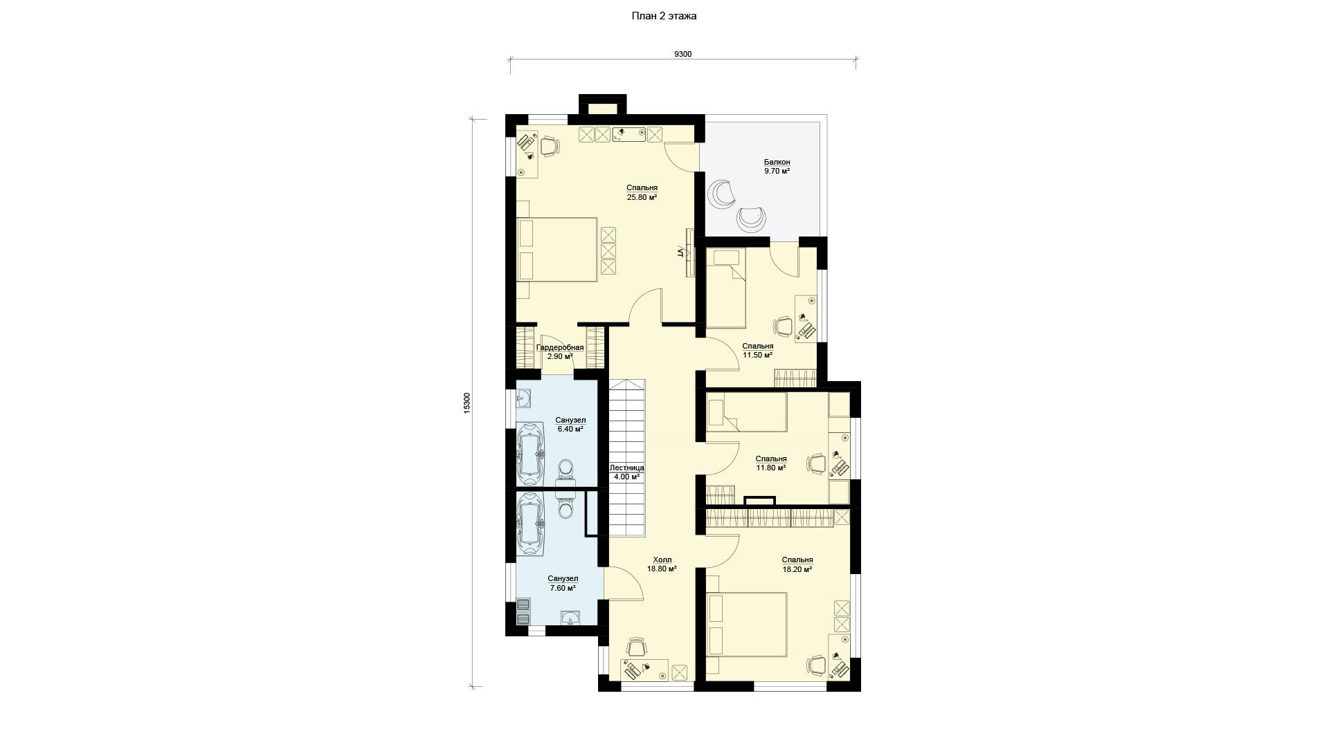 План второго этажа двухэтажного дома 15 на 15, проект БЭНПАН БП-289.