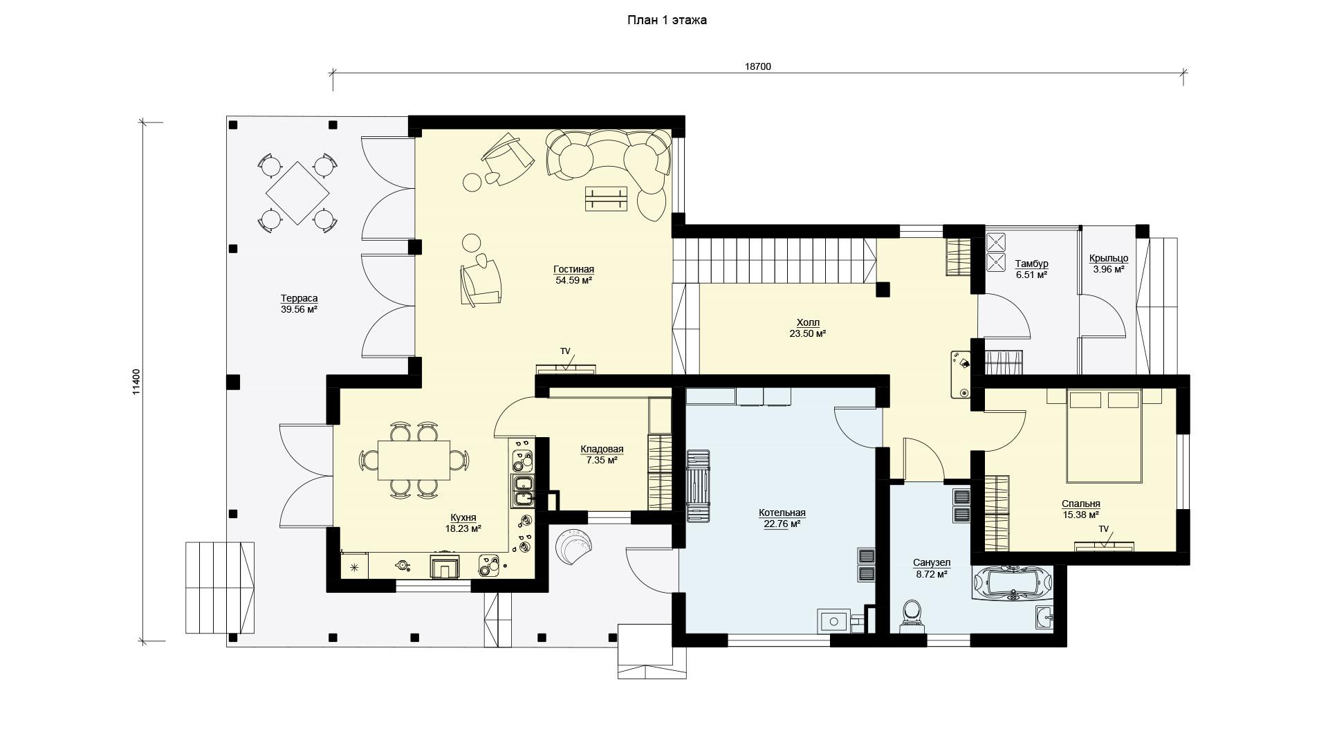 План первого этажа загородного дома 18 на 11 двухэтажного, проект БЭНПАН БП-294.