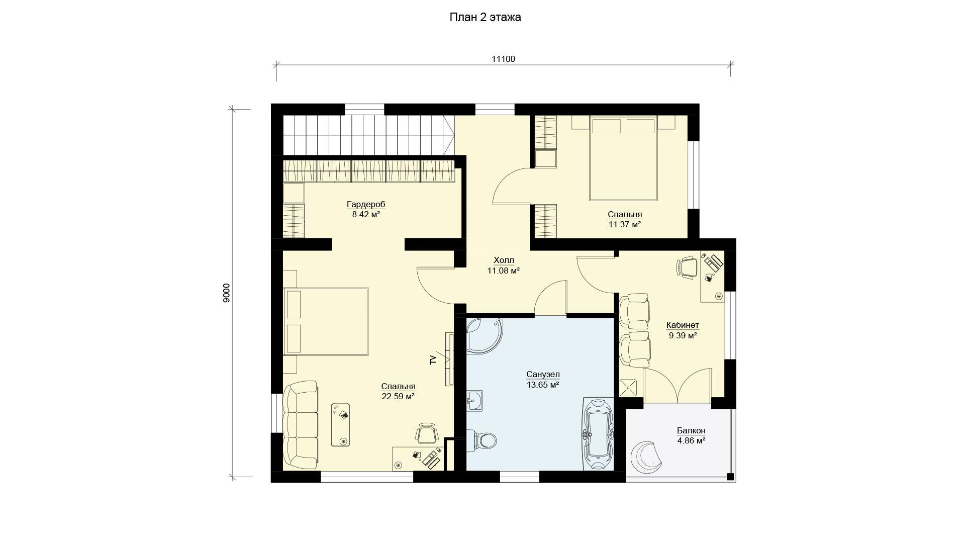 План второго этажа загородного дома 18 на 11 двухэтажного, проект БЭНПАН БП-294.
