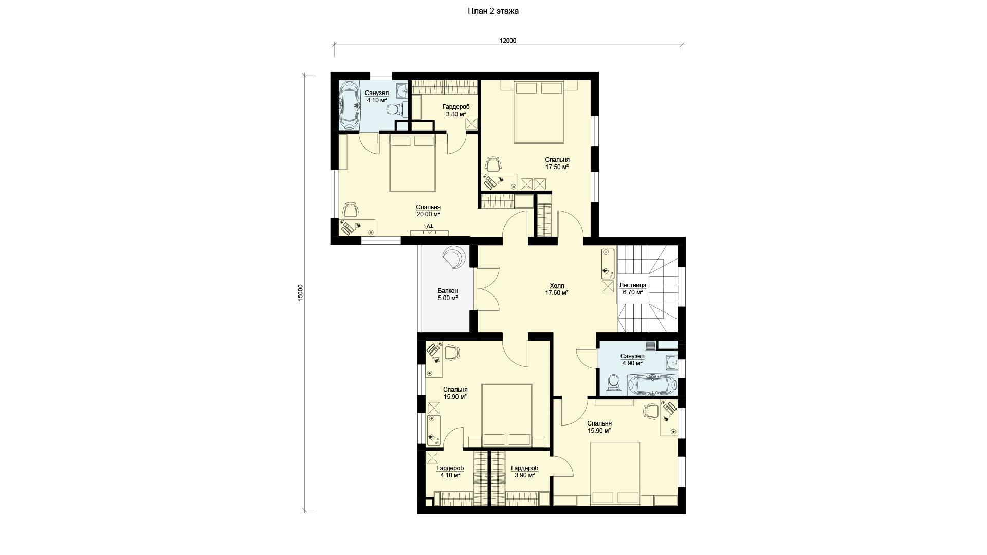 План второго этажа двухэтажного загородного коттеджа, проект БЭНПАН БП-296/4.