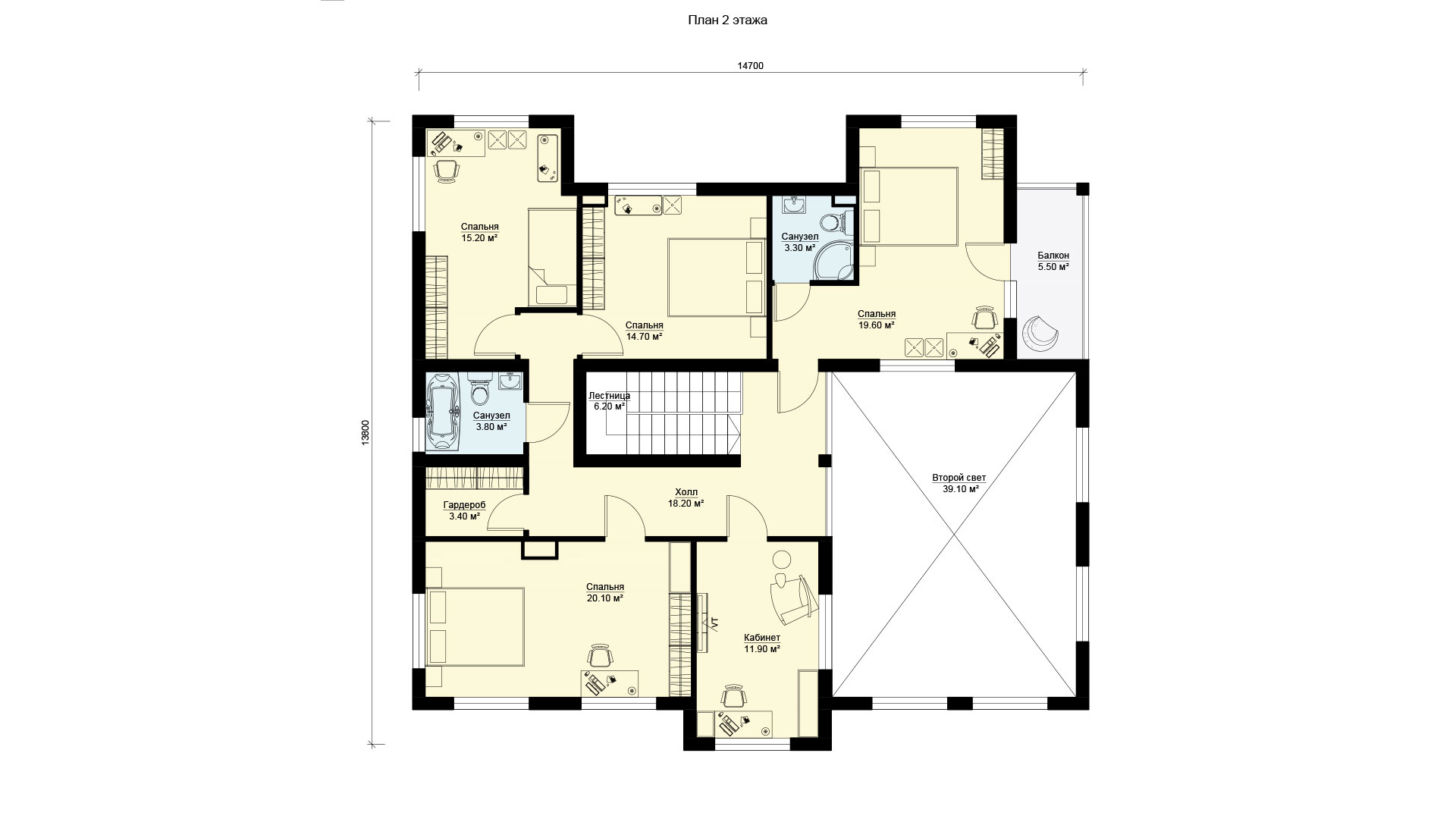 План второго этажа загородного дома с большими окнами, проект БЭНПАН БП-338.