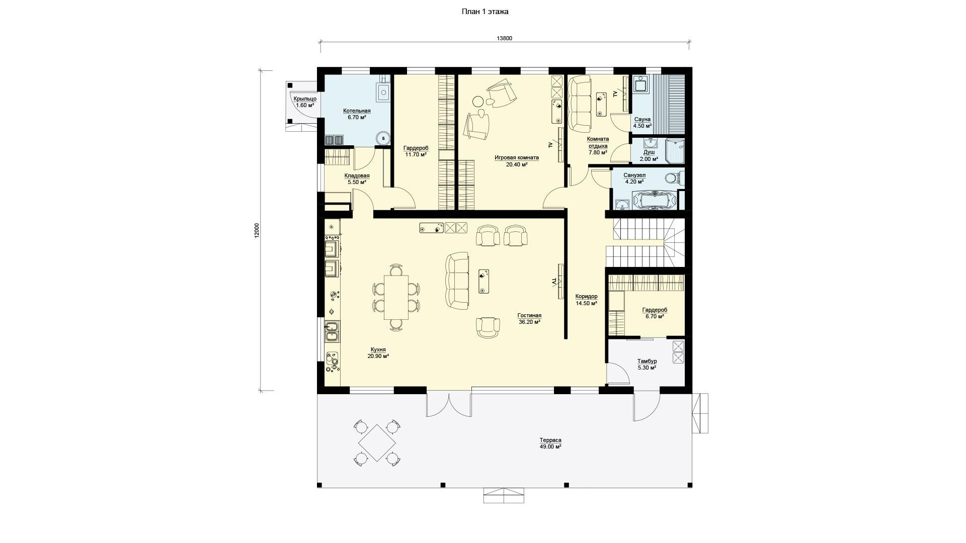 Планировка первого этажа двухэтажного дома с панорамным остеклением. Проект БЭНПАН БП-347.