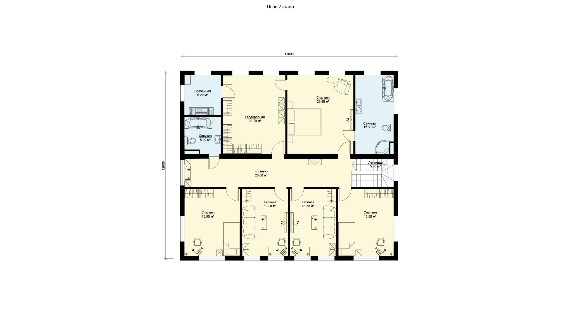 Планировка второго этажа двухэтажного дома с панорамным остеклением. Проект БЭНПАН БП-347.