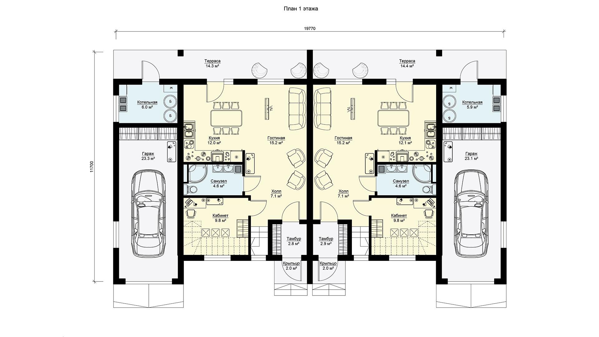 Планировка первого этажа двухэтажного дома с гаражами и террасами. Проекта БЭНПАН-391