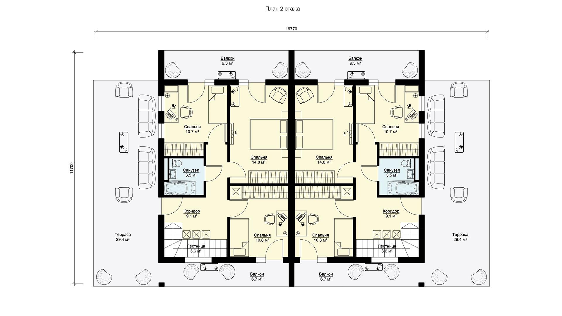 Планировка второго этажа двухэтажного дома с гаражами, террасами и балконами. Проекта БЭНПАН-391