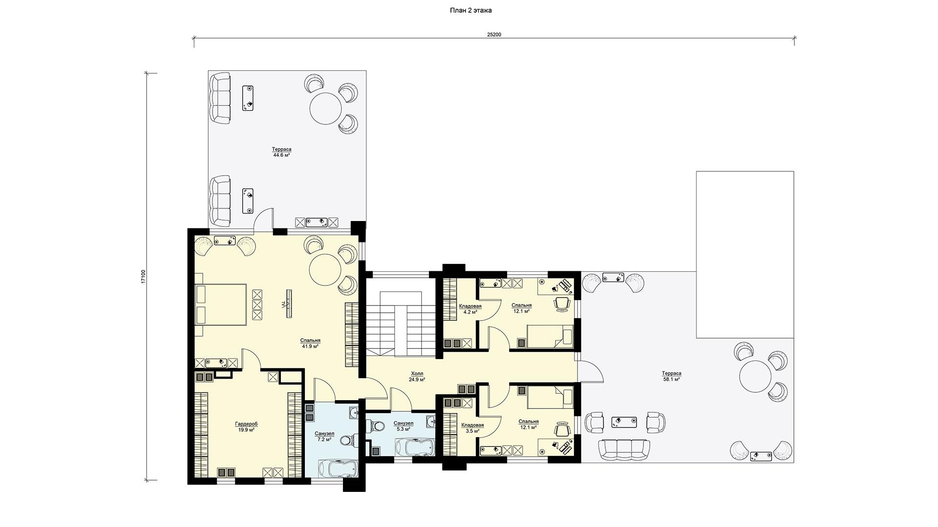Планировка второго этажа проекта БП-605