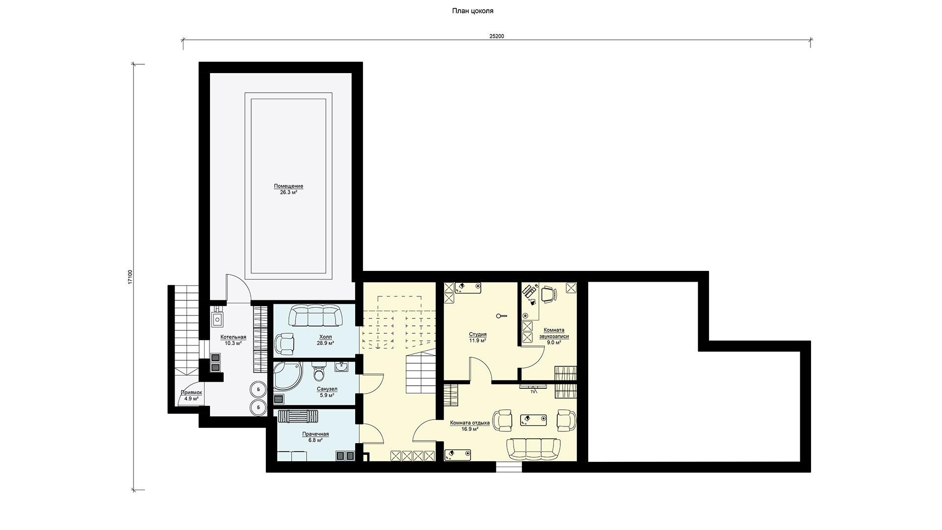 Планировка цокольного этажа проекта БП-605