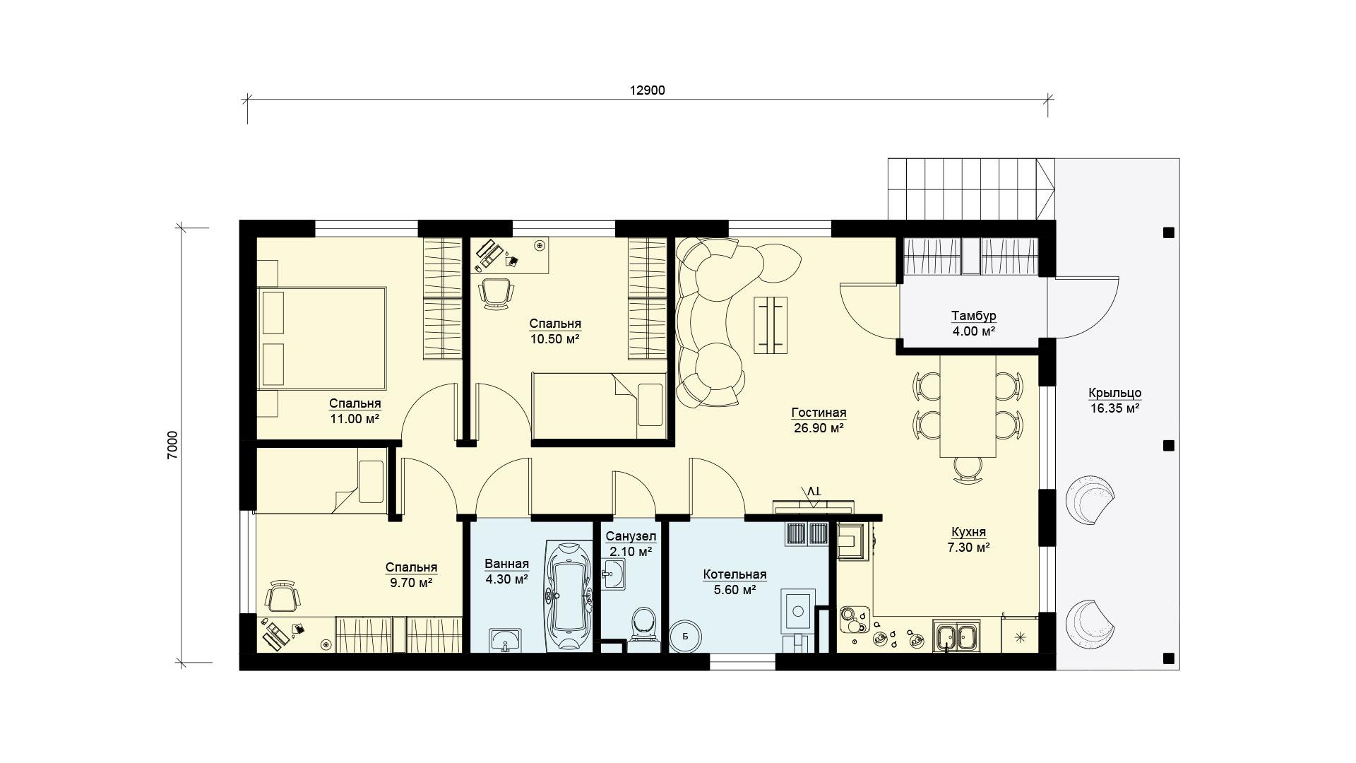 Планировка дома 13 на 7 одноэтажного, проект БЭНПАН БП-94.