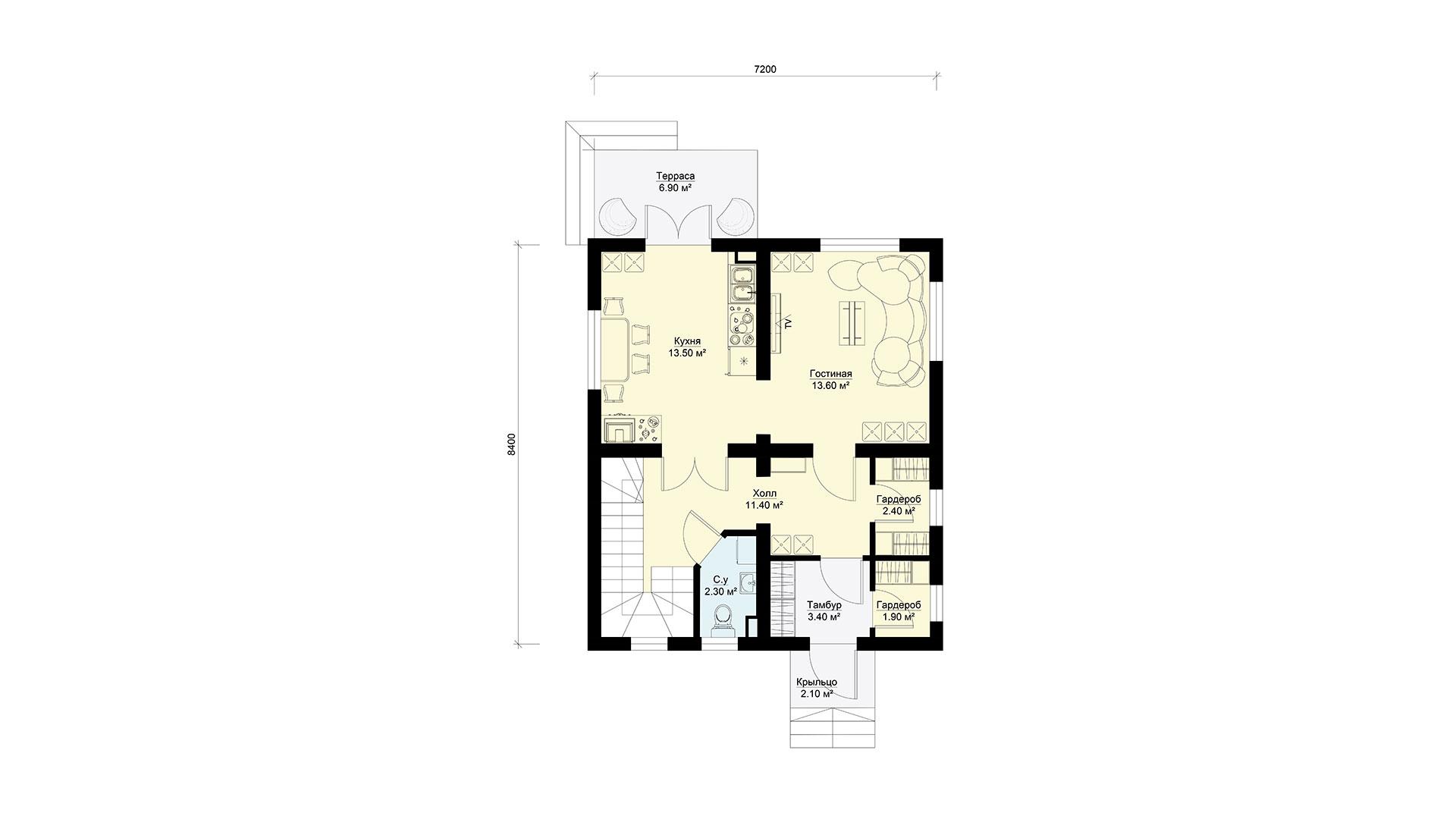 Планировка первого этажа проекта БП-97/2.