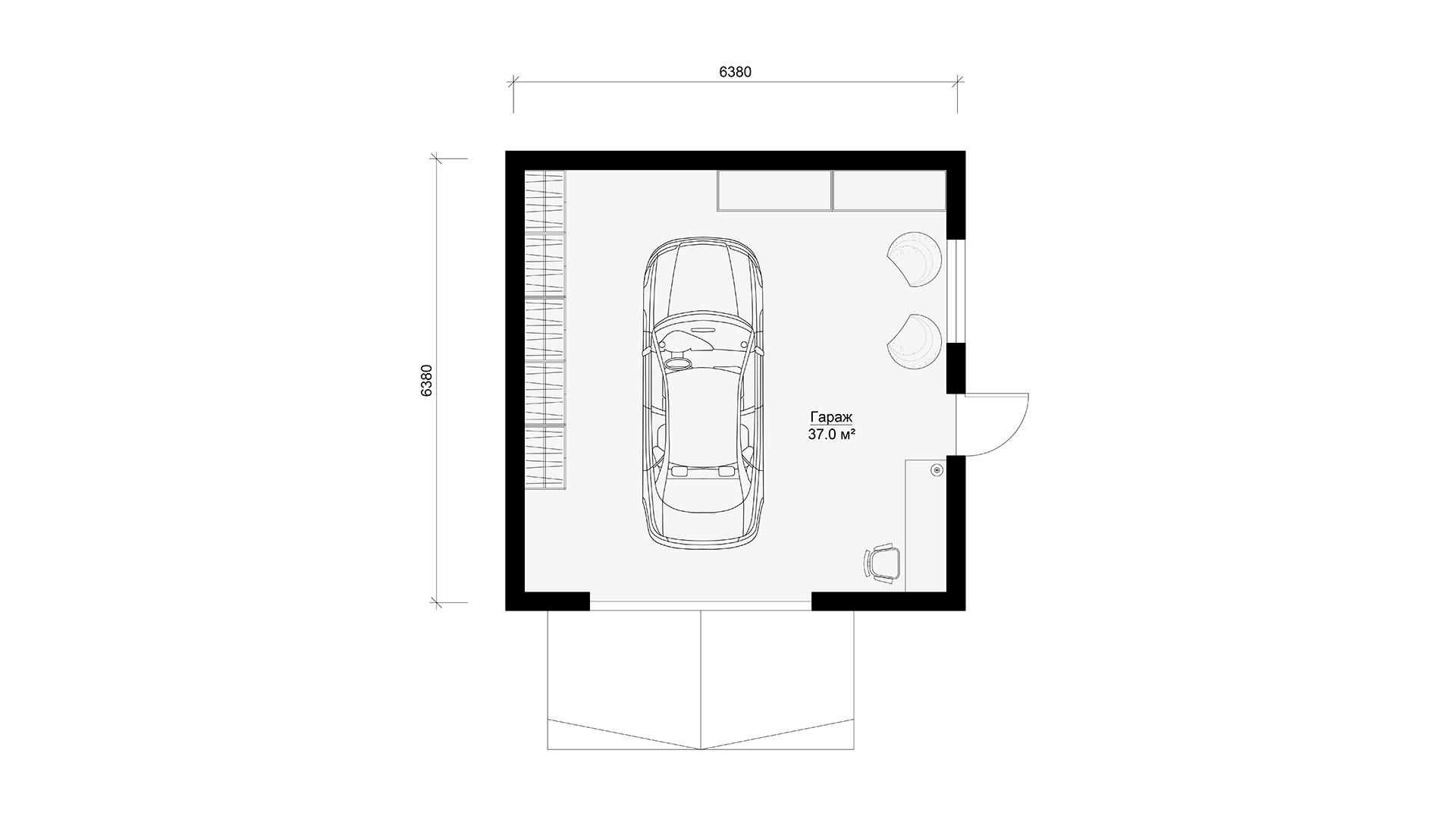 Гараж одноэтажный 6 на 6 метров. Планировка.