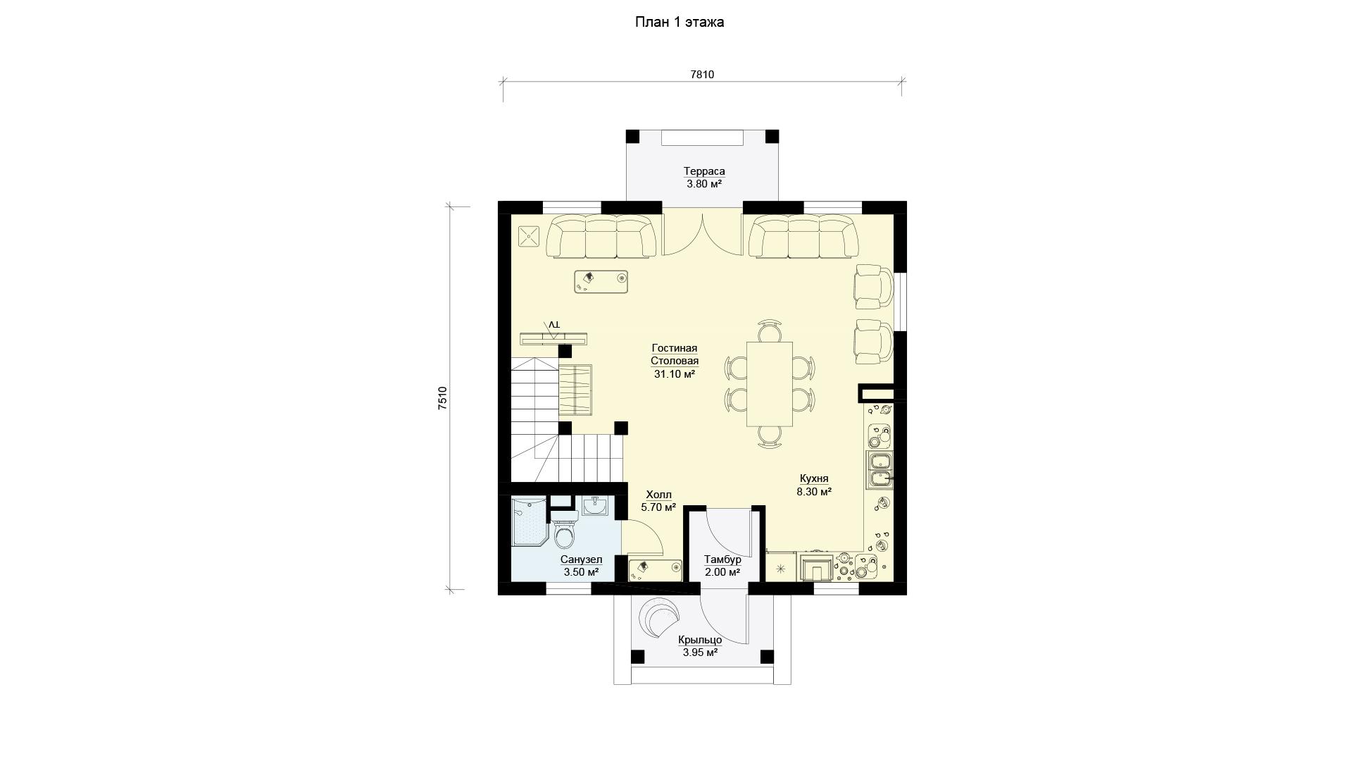План первого этажа дома 8 на 8 двухэтажного, проект БЭНПАН МС-108.