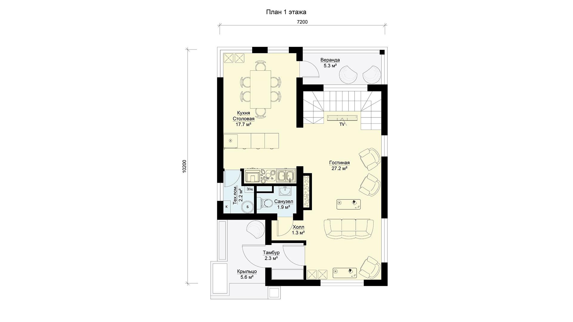 План первого этажа двухэтажного дома БЭНПАН, проект МС-112/1.