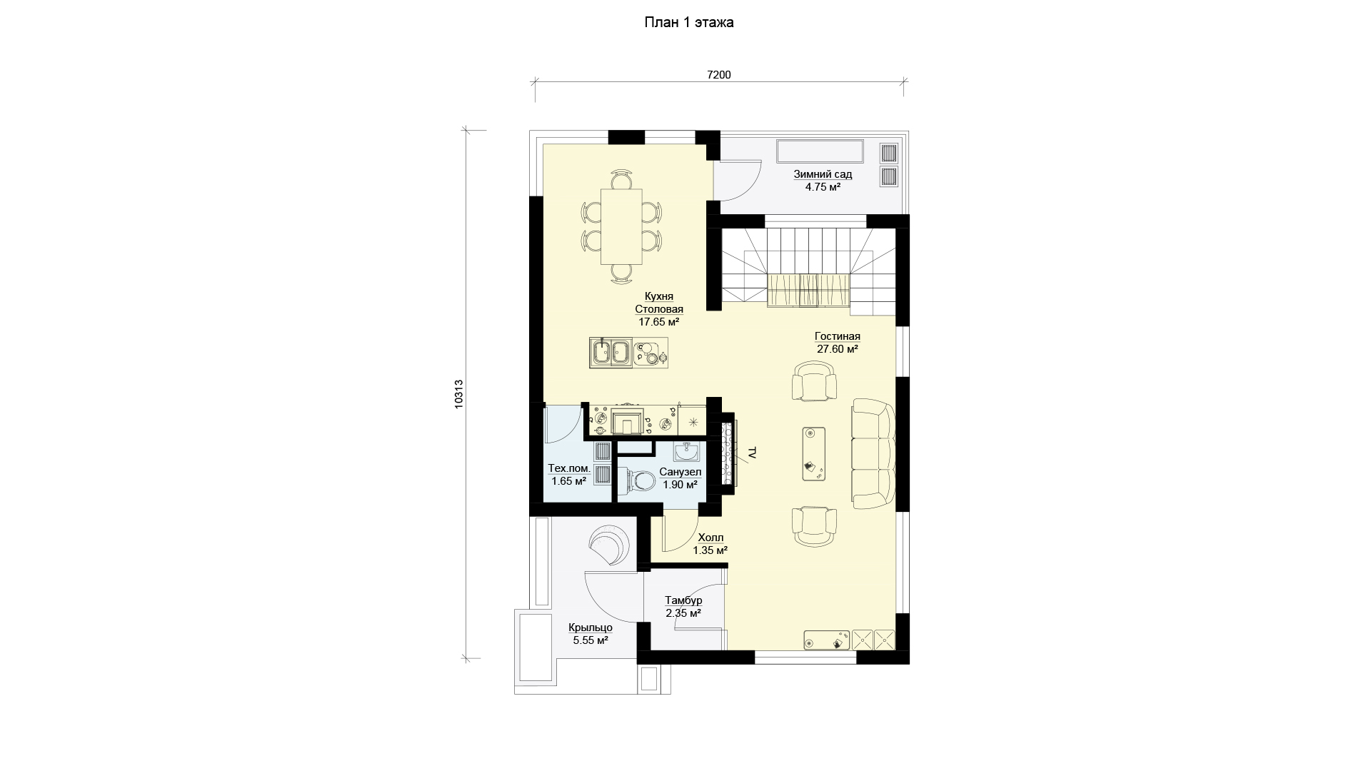 План первого этажа дома 7 на 10 двухэтажного, проект БЭНПАН МС-112.
