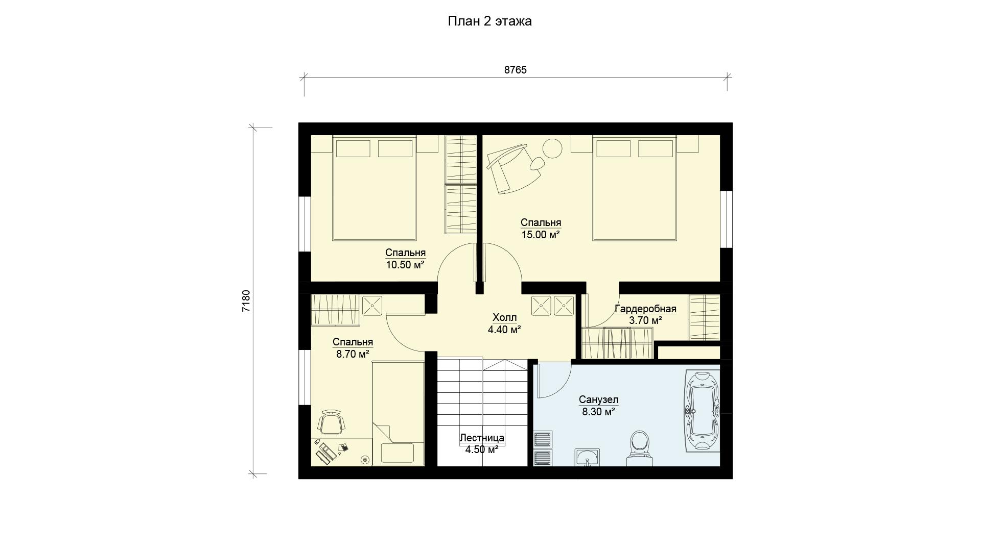 План мансардного этажа двухэтажного дома БЭНПАН, проект МС-117.