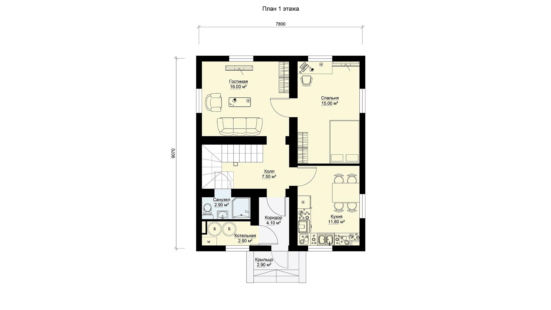 План первого этажа двухэтажного мансардного дома, проект БЭНПАН МС-121.