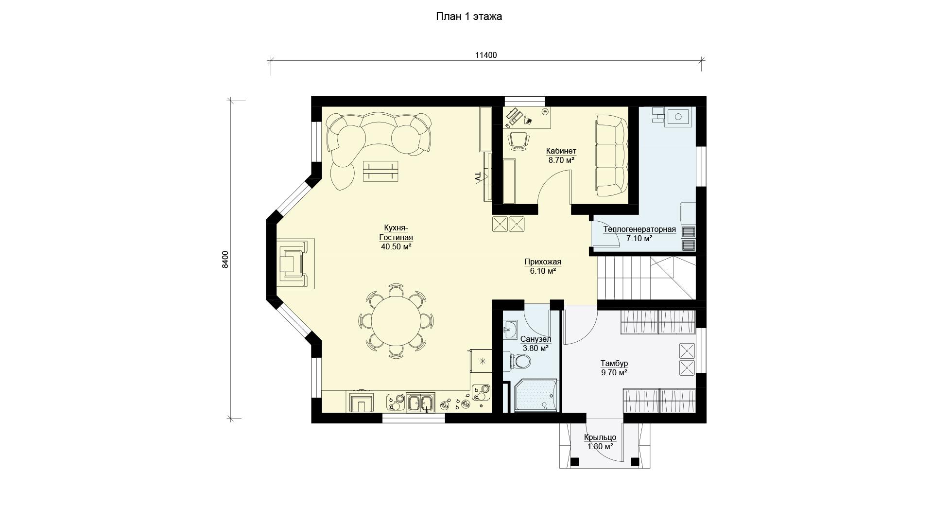 План первого этажа двухэтажного дома с камином и эркером, проект БЭНПАН МС-143.