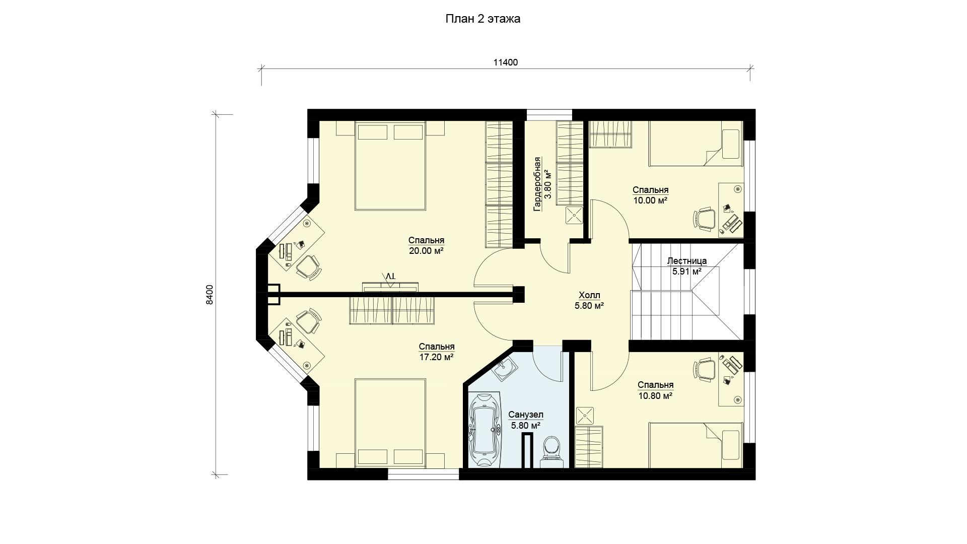 План второго этажа двухэтажного дома с камином и эркером, проект БЭНПАН МС-143.