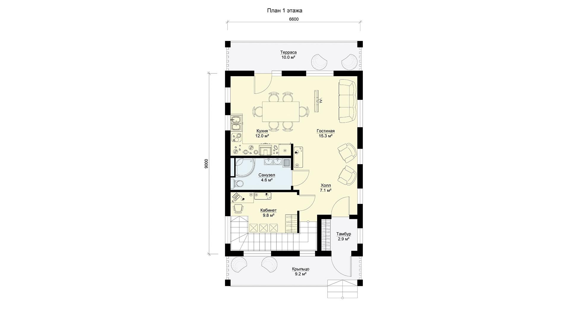 План первого этажа двухэтажного дома БЭНПАН, проект МС-144.