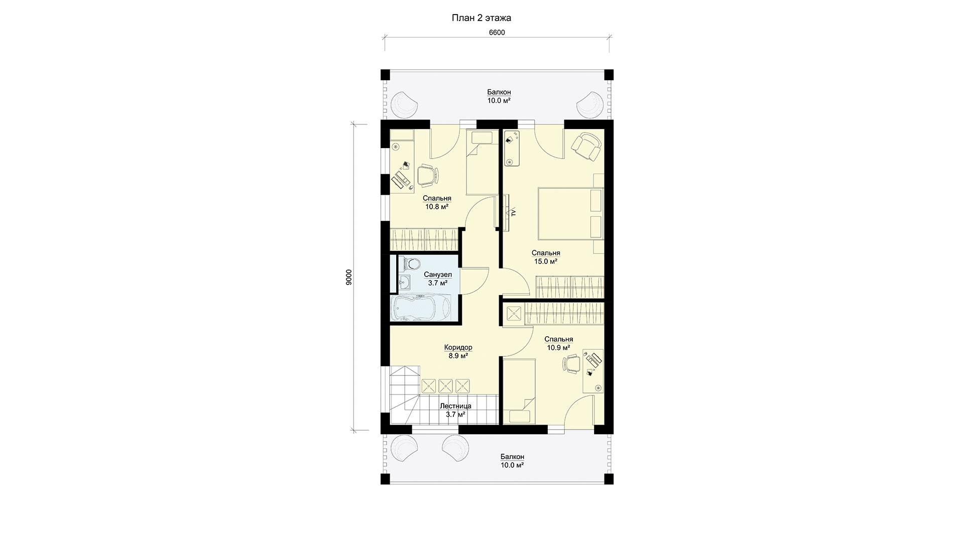 План второго этажа двухэтажного дома БЭНПАН, проект МС-144.