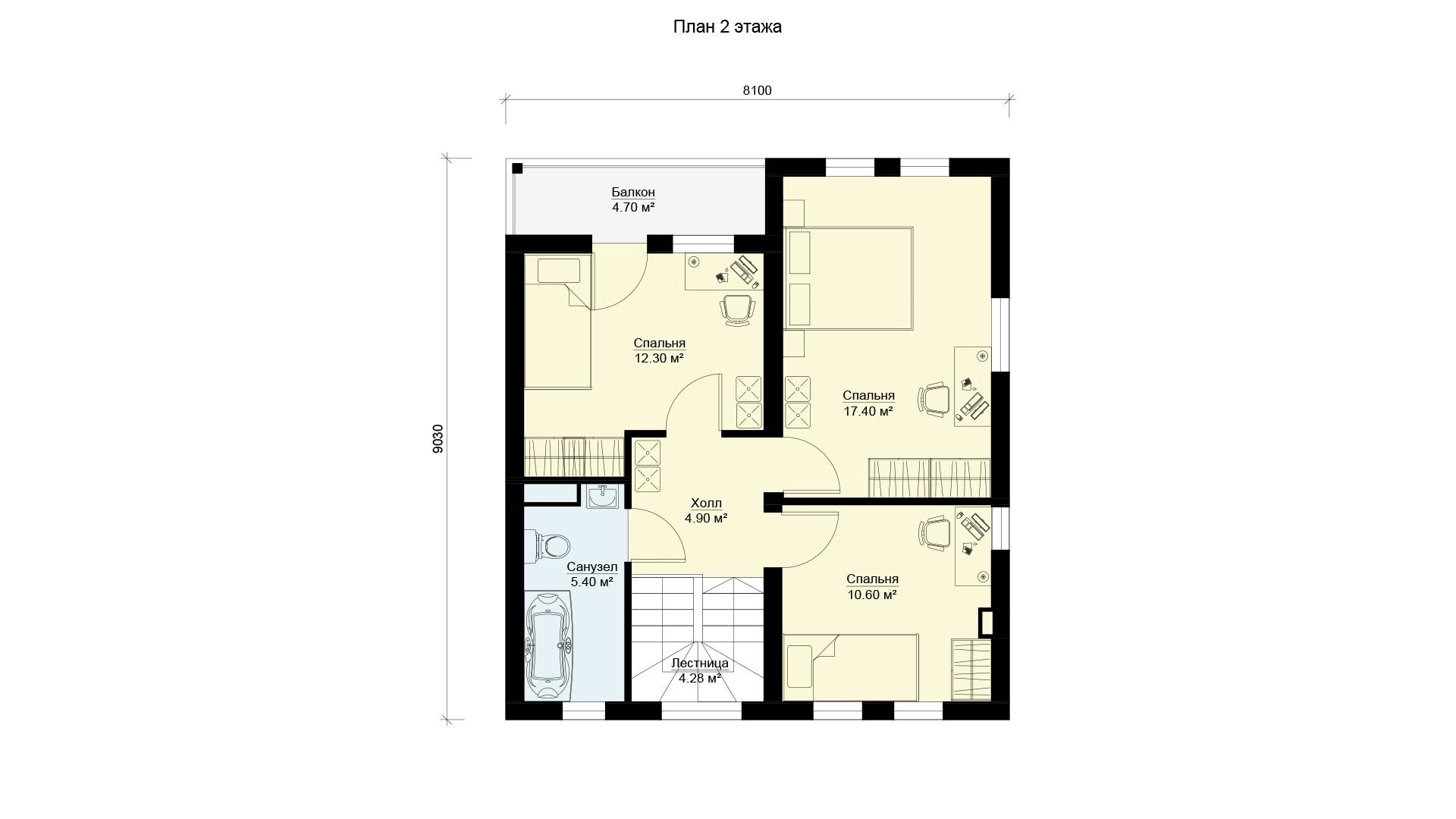 План второго этажа двухэтажного дома, проект БЭНПАН МС-146/1.