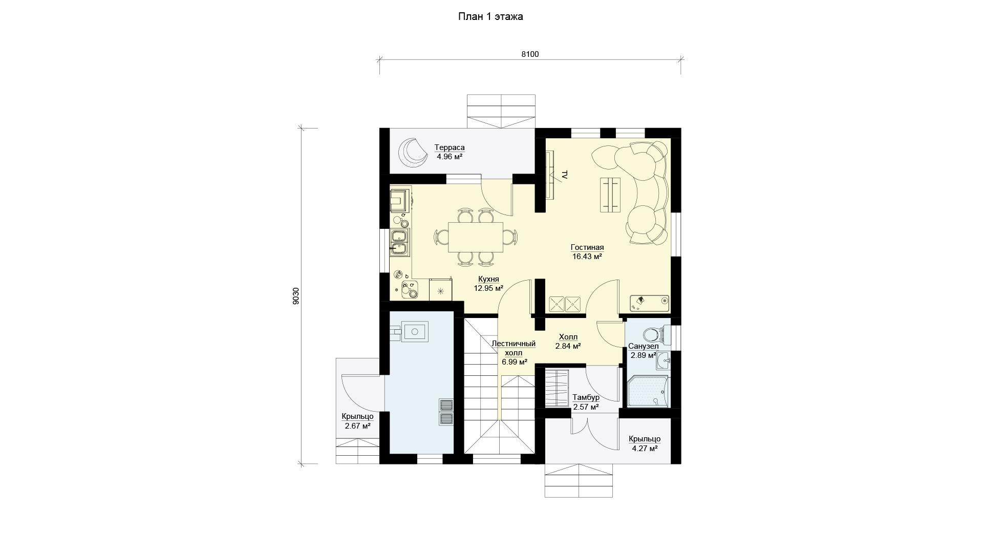 План первого этажа загородного дома 9 на 9 двухэтажного, проект БЭНПАН МС-146 В.