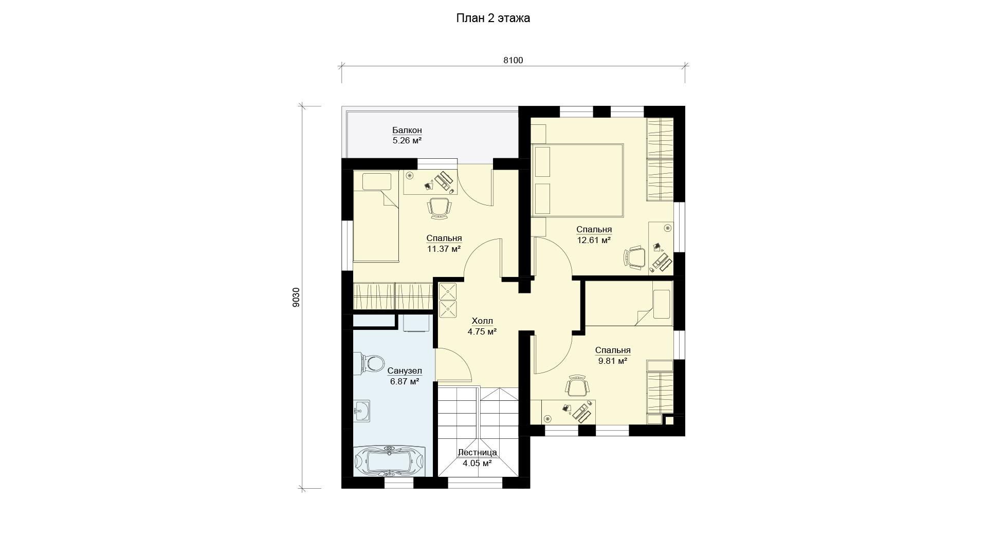 План второго этажа загородного дома 9 на 9 двухэтажного, проект БЭНПАН МС-146 В.