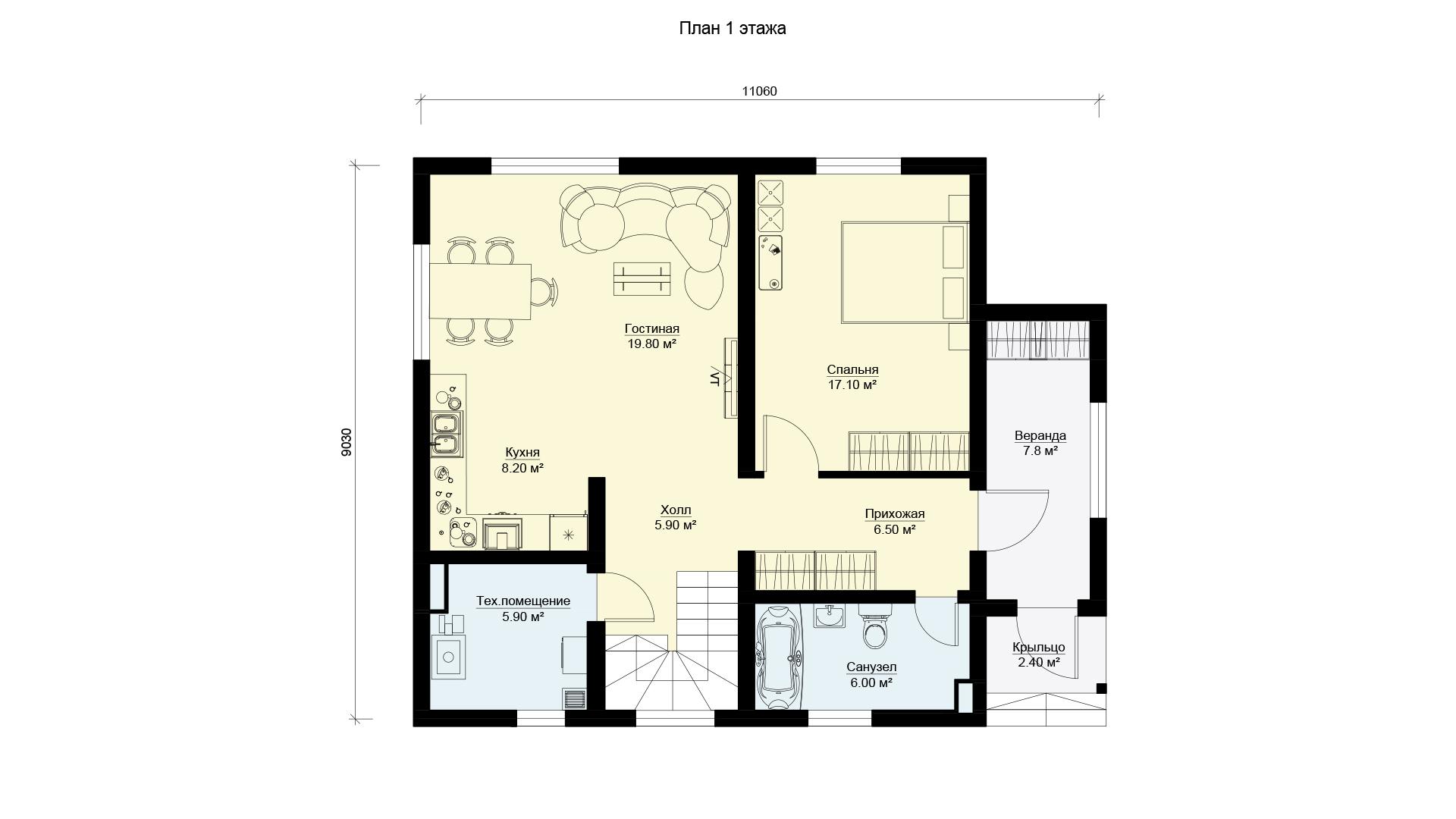 План первого этажа двухэтажного загородного дома, проект БЭНПАН МС-152.