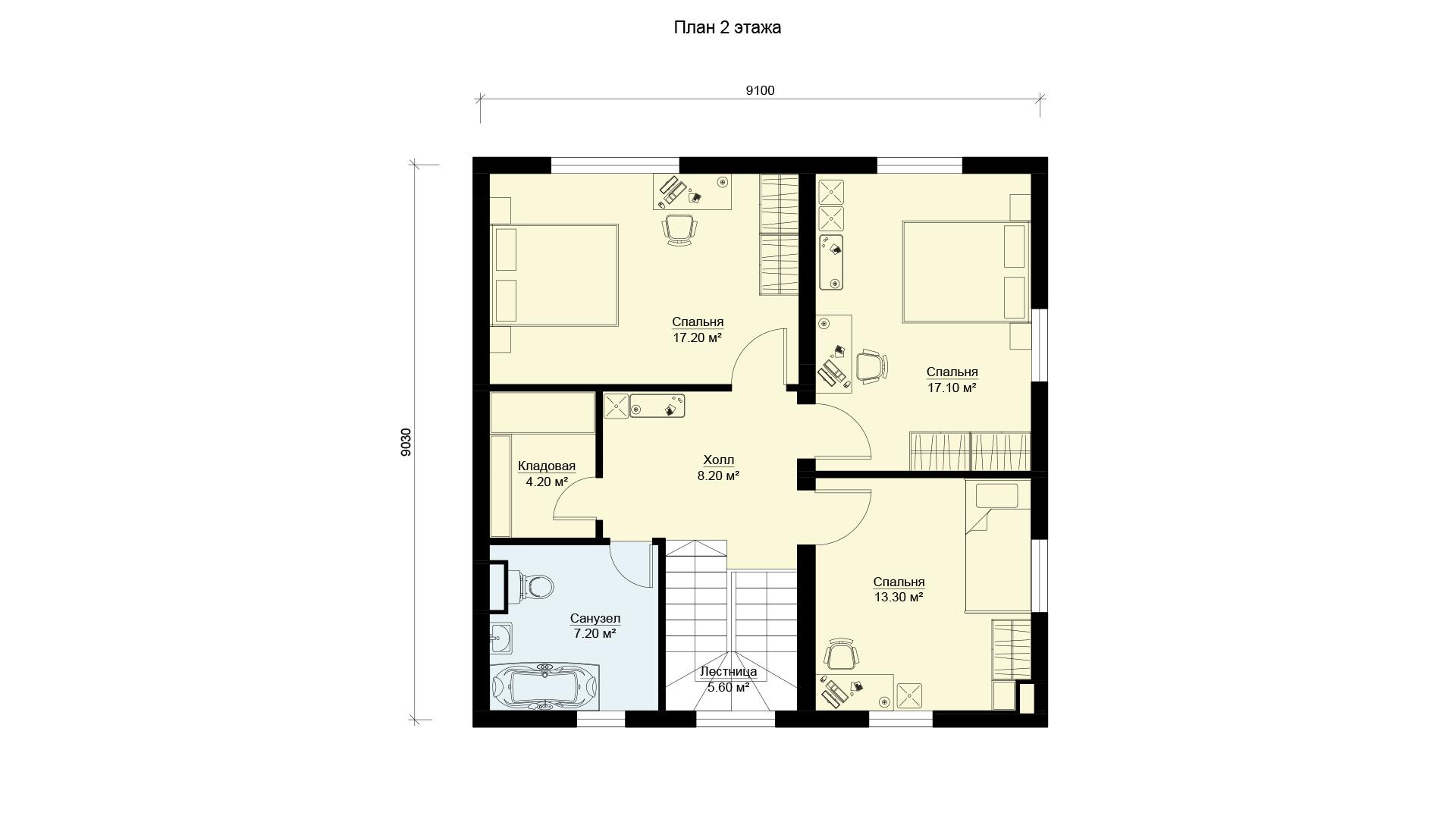 План второго этажа двухэтажного загородного дома, проект БЭНПАН МС-152.