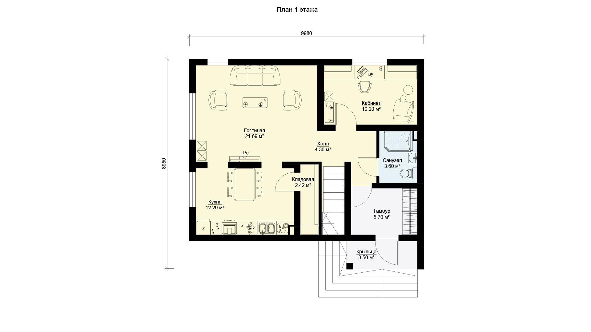 План первого этажа двухэтажного загородного дома БЭНПАН, проект МС-155.