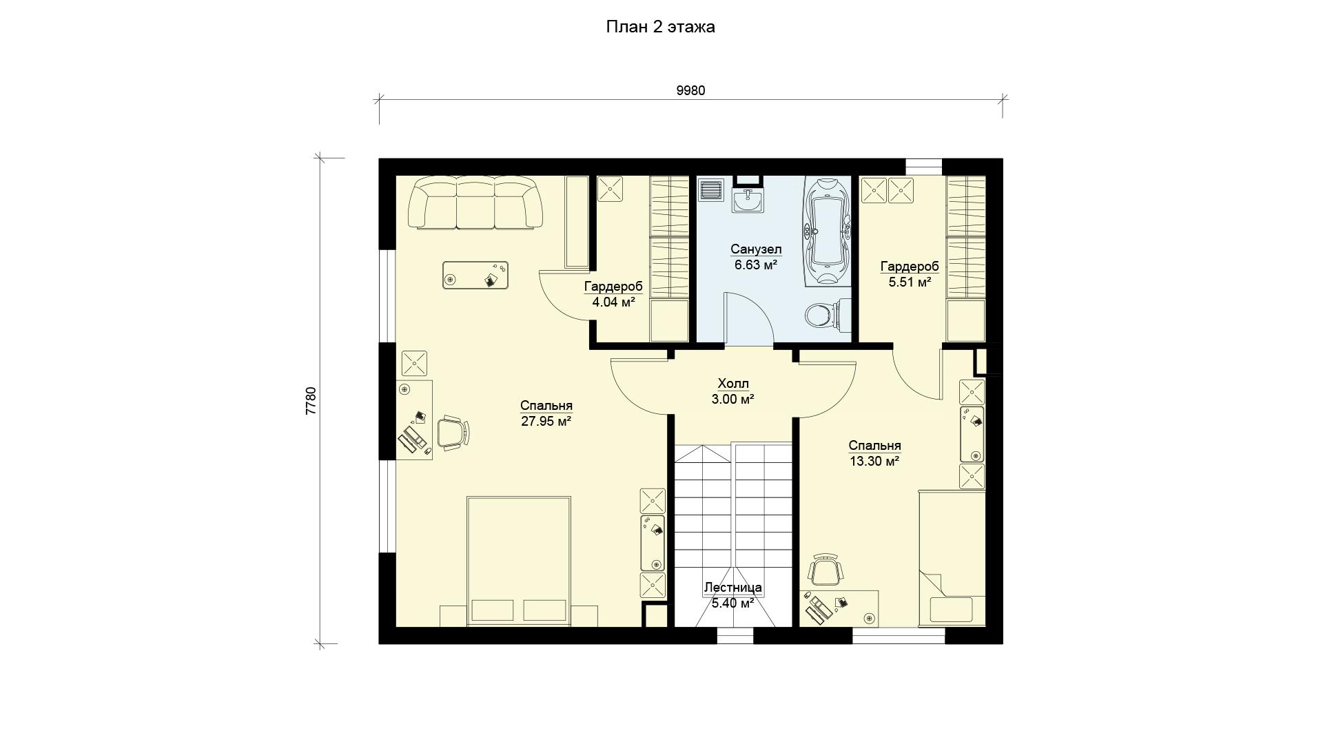 План второго этажа двухэтажного загородного дома БЭНПАН, проект МС-155.