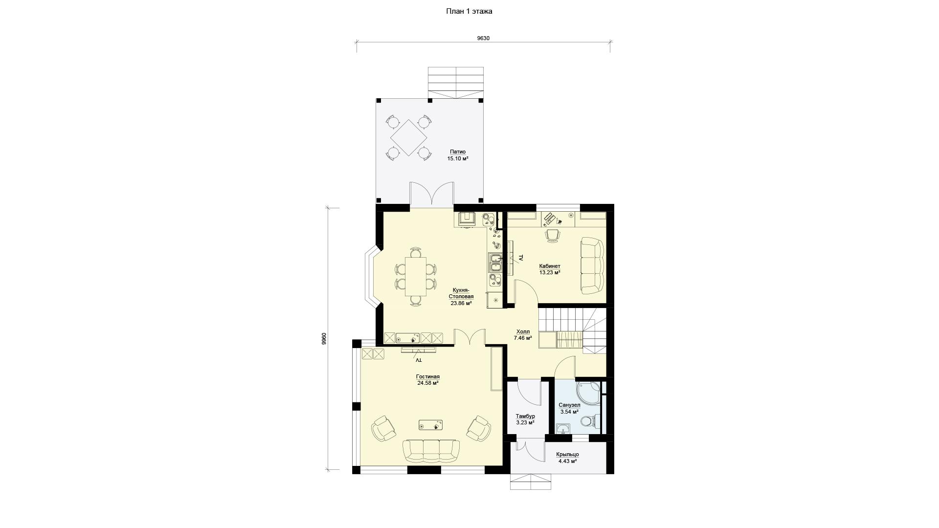 План первого этажа двухэтажного дома, проект БЭНПАН МС-160.