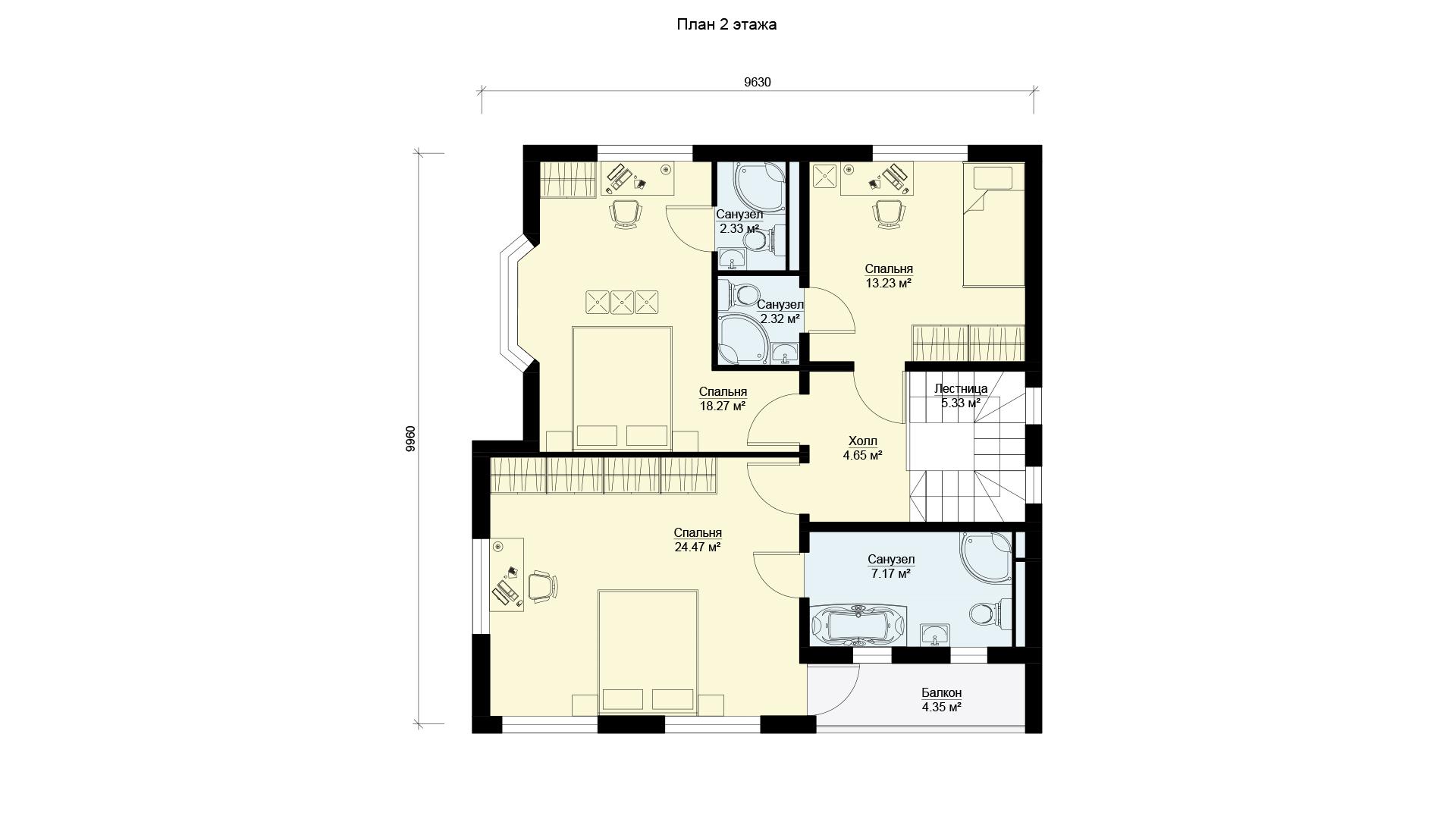 План второго этажа двухэтажного дома, проект БЭНПАН МС-160.