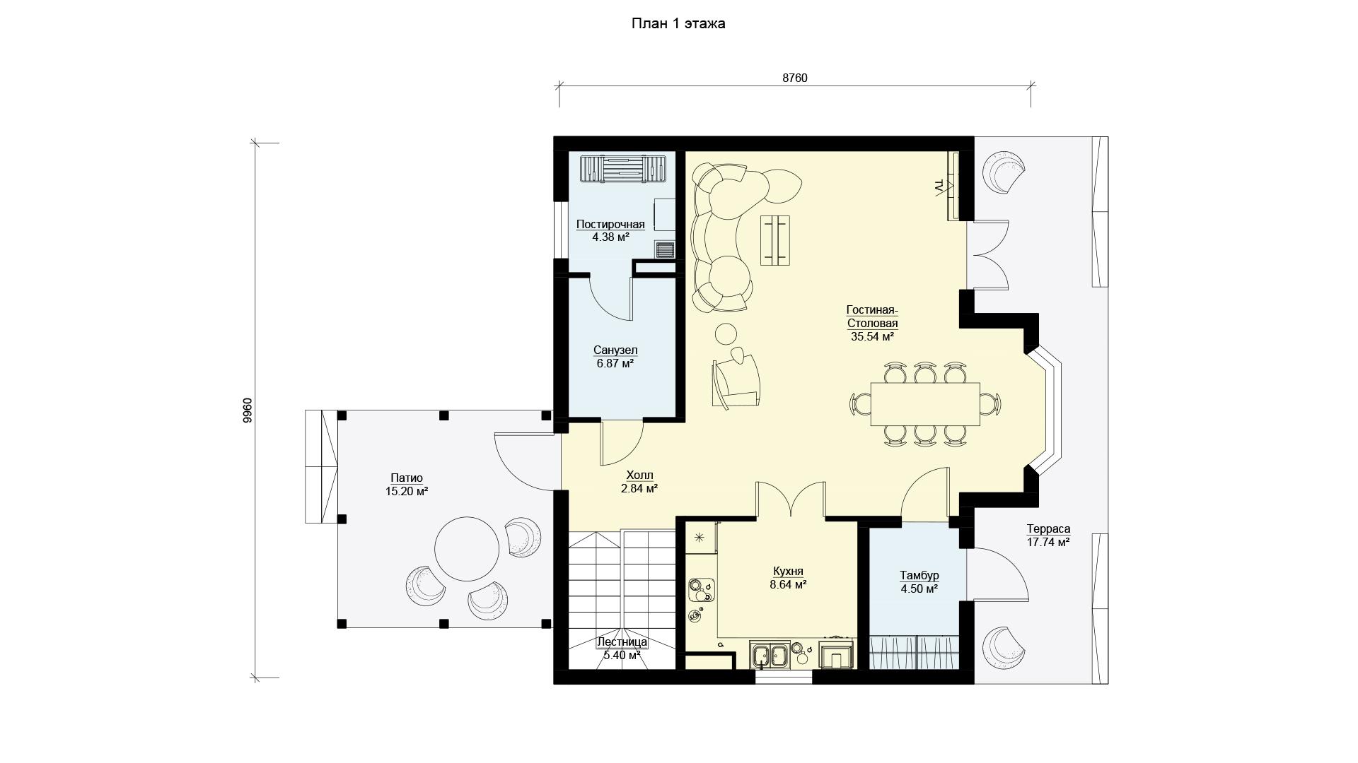 План первого этажа двухэтажного дома, проект БЭНПАН МС-164/1/К.